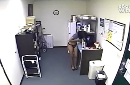 Hot Office Girl Lifts Refills Milk Carton with her Breast Milk