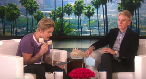 Justin Bieber put on a British Accent and Prank Calls a Fan with Elle Degeneres